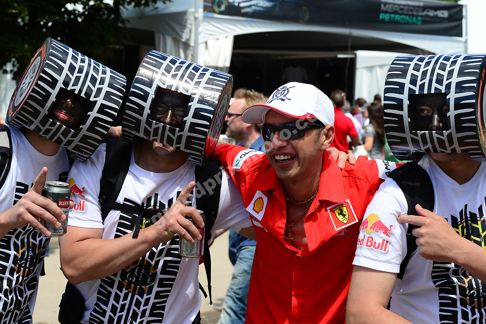 Red Bull-Renault / Pirelli / Ferrari fans before the 2013 Canadian Grand Prix at the Ile Notre Dame in Montreal. Photo: Grand Prix Photo