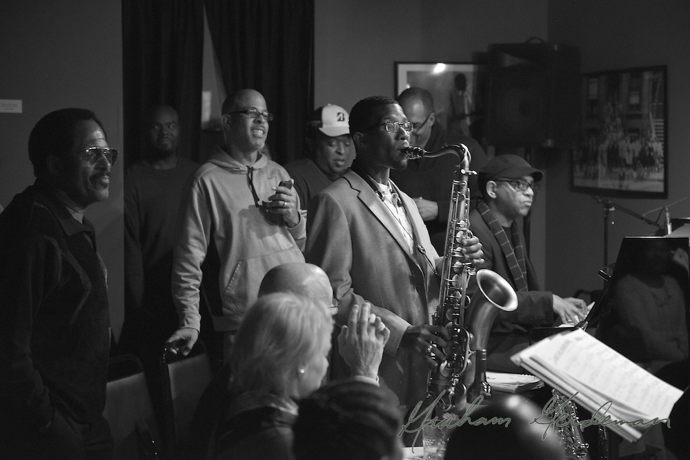Saxophonist Cord Martin with pianist DeMarco Johnson performing as part of the Marcus Finnie Band at Nine48Jazz in Nashville, TN.