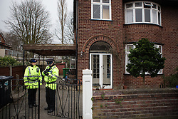 © Licensed to London News Pictures . 13/02/2014 . Manchester , UK . Police at the home of Anil Khalil Raoufi (aka Abu Layth ) at 78 Brooklawn Drive in Didsbury , Manchester today (13th February 2014) . Raoufi , a British Muslim , is reported to have been killed in fighting in Syria . Photo credit : Joel Goodman/LNP