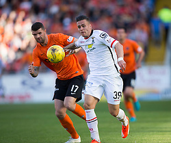 Dundee United's Mark Durnan and Inverness Caledonian Thistle's Miles Storey.<br /> Half time : Dundee United 1 v 0 Inverness Caledonian Thistle, SPFL Ladbrokes Premiership game played 19/9/2015 at Tannadice.