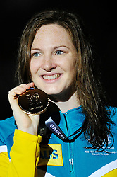 02.08.2013, Barcelona, ESP, FINA, Weltmeisterschaften für Wassersport, Medailliengewinner, im Bild Cate Campbell from Australia, gold medal at 100m Freestyle Women Finalist Victory Ceremony // during the FINA worldchampionship of waterpolo, medalists in Barcelona, Spain on 2013/08/02. EXPA Pictures © 2013, PhotoCredit: EXPA/ Pixsell/ HaloPix<br /> <br /> ***** ATTENTION - for AUT, SLO, SUI, ITA, FRA only *****