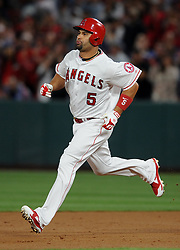May 3, 2018 - Anaheim, CA, U.S. - ANAHEIM, CA - MAY 03: Los Angeles Angels of Anaheim first baseman Albert Pujols (5) collects his 2999th career hit and heads for sec and for a double in the second inning of a game against the Baltimore Orioles played on May 3, 2018 at Angel Stadium of Anaheim in Anaheim, CA. (Photo by John Cordes/Icon Sportswire) (Credit Image: © John Cordes/Icon SMI via ZUMA Press)