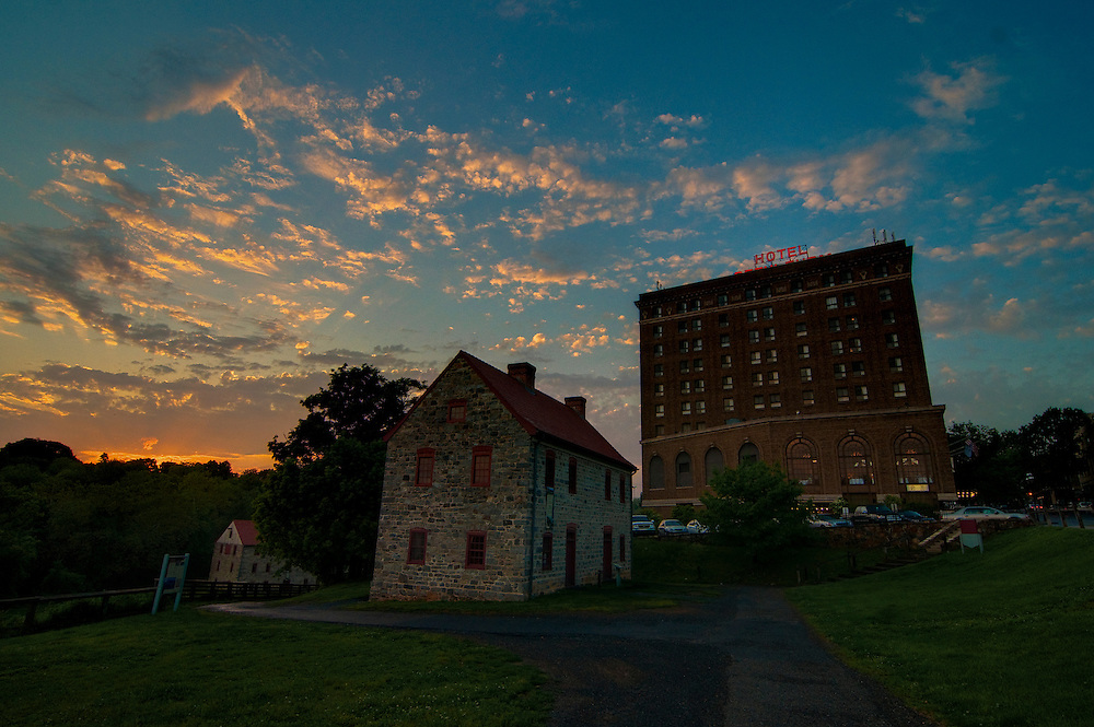 The sun sets on downtown historic Bethlehem, Pennsylvania. From left to right: The tannery, the blacksmith, and Historic Hotel Bethlehem.