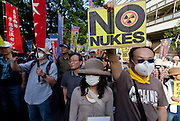 Anti nuclear protesters at a rally in Hibiya Park. Tokyo, Japan Sunday June 2nd 2013