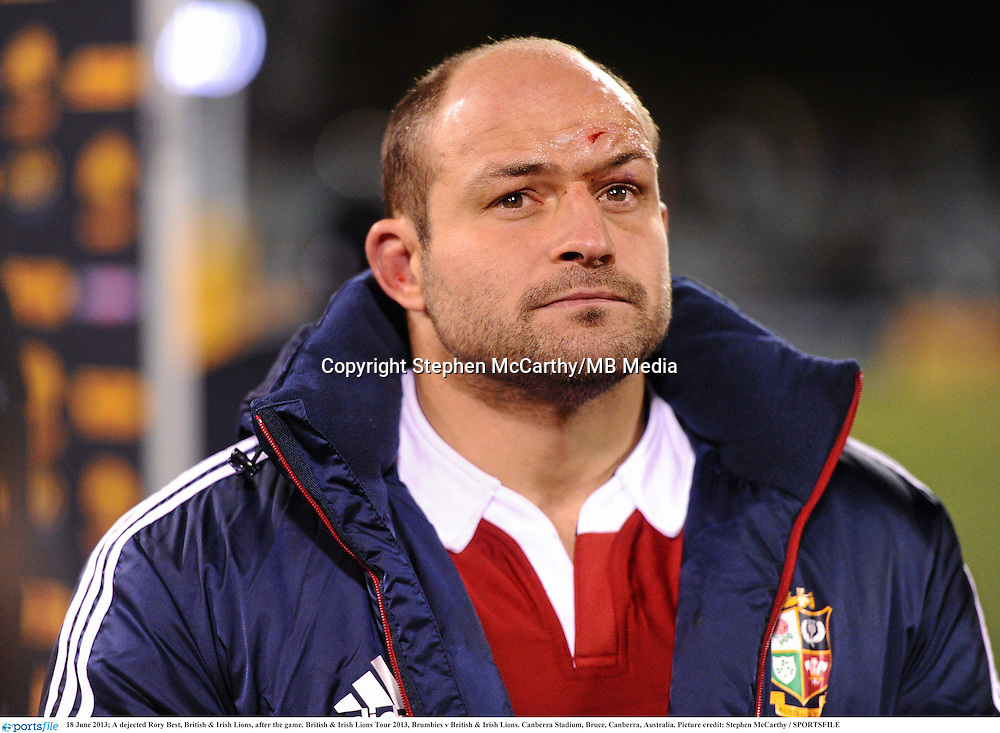 18 June 2013; A dejected Rory Best, British & Irish Lions, after the game. British & Irish Lions Tour 2013, Brumbies v British & Irish Lions. Canberra Stadium, Bruce, Canberra, Australia. Picture credit: Stephen McCarthy / SPORTSFILE