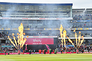 The teams come out on to the field to play throught the wall of flames before the Vitality T20 Finals Day Semi Final 2018 match between Worcestershire Rapids and Lancashire Lightning at Edgbaston, Birmingham, United Kingdom on 15 September 2018.