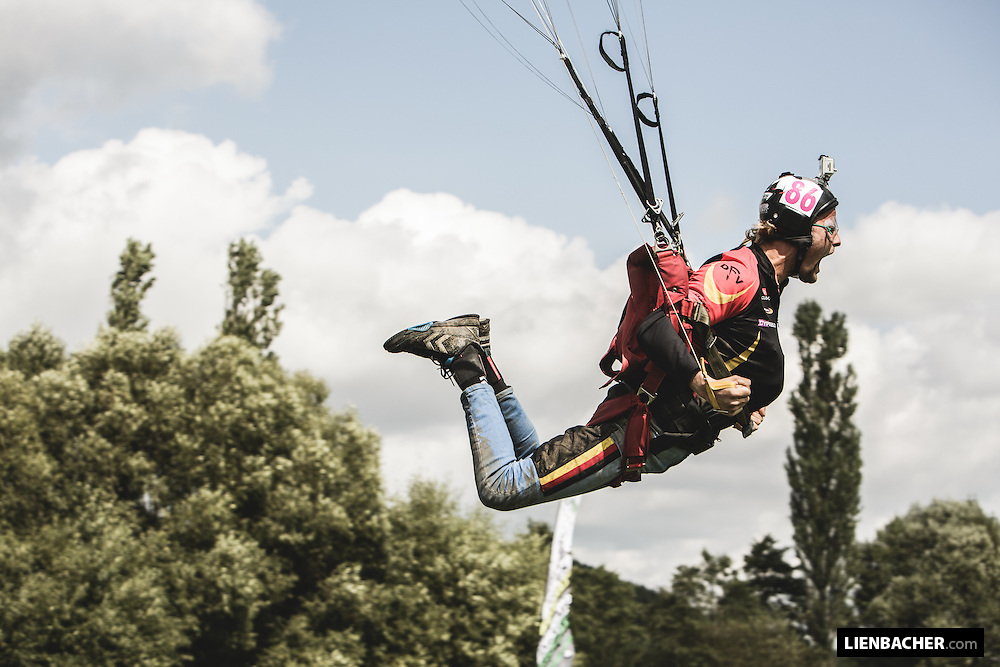 Finn Bendixen goes full power during a speed run at the Pink Open in Skydive Pink Klatovy