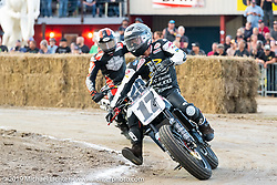 AMA flattracker (no. 17) Henry Wiles on his Indian FTR750r racer in the AMA Flat track racing at the Sturgis Buffalo Chip during the Sturgis Black Hills Motorcycle Rally. Sturgis, SD, USA. Sunday, August 4, 2019. Photography ©2019 Michael Lichter.