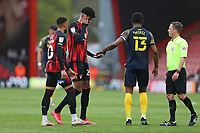Football - 2020 / 2021 Sky Bet Championship - AFC Bournemouth vs. Stoke City - The Vitality Stadium<br /> <br /> John Obi Mikel of Stoke City gives an apology handshake to Bournemouth's Philip Billing after accidentally catching Billing with an arm during the Championship match at the Vitality Stadium (Dean Court) Bournemouth <br /> <br /> COLORSPORT/SHAUN BOGGUST