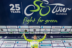 Benjamin Hill of Ljubljana Gusto Xaurum celebrates in green jersey as best in Overall classification during Trophy ceremony after the 2nd Stage of 25th Tour de Slovenie 2018 cycling race between Maribor and Rogaska Slatina (152,7 km), on June 14, 2018 in  Slovenia. Photo by Vid Ponikvar / Sportida