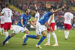 October 14, 2018 - Chorzow, Poland - Cristiano Biraghi of Italy celebrates scoring during the UEFA Nations League A match between Poland and Italy at Silesian Stadium in Chorzow, Poland on October 14, 2018  (Credit Image: © Andrew Surma/NurPhoto via ZUMA Press)