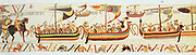 Bayeux Tapestry 1067: William of Normandy's (William the Conqueror) fleet setting sail for England. They landed at Pevensey on the south coast on 28 September 1066. Defeated Harold II at Battle of Hastings on 14 October. Textile