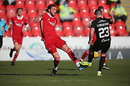 Aberdeen's Fraser Hornby (7) and Jackson Longridge(23) of Livingston battles for possession, tussles, tackles, challenges, during the Scottish FA Cup match between Aberdeen and Livingston at Pittodrie Stadium, Aberdeen, Scotland on 17 April 2021.