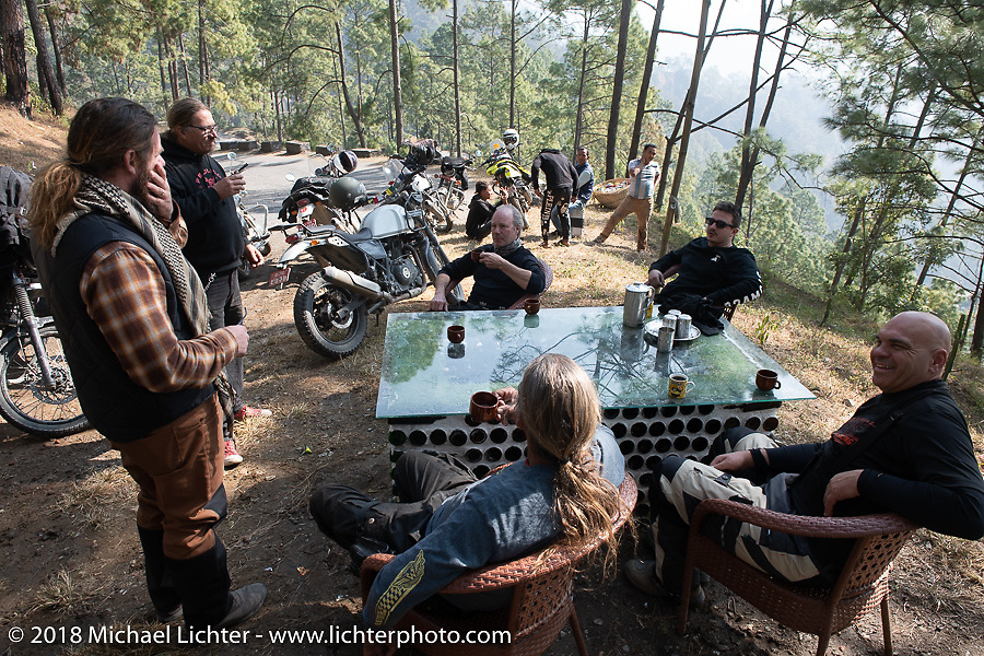 Stop at a mountainside tea house on day-2 of our Himalayan Heroes adventure riding from Daman to Chitwan, Nepal. Wednesday, November 7, 2018. Photography ©2018 Michael Lichter.