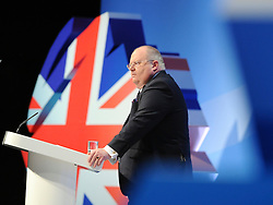 © Licensed to London News Pictures. 03/10/2011. MANCHESTER. UK. The Rt Hon Eric Pickles MP  delivers a speech at The Conservative Party Conference at Manchester Central today, October 3, 2011. Photo credit:  Stephen Simpson/LNP