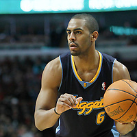 26 March 2012: Denver Nuggets shooting guard Arron Afflalo (6) looks to pass the ball during the Denver Nuggets 108-91 victory over the Chicago Bulls at the United Center, Chicago, Illinois, USA. NOTE TO USER: User expressly acknowledges and agrees that, by downloading and or using this photograph, User is consenting to the terms and conditions of the Getty Images License Agreement. Mandatory Credit: 2012 NBAE (Photo by Chris Elise/NBAE via Getty Images)