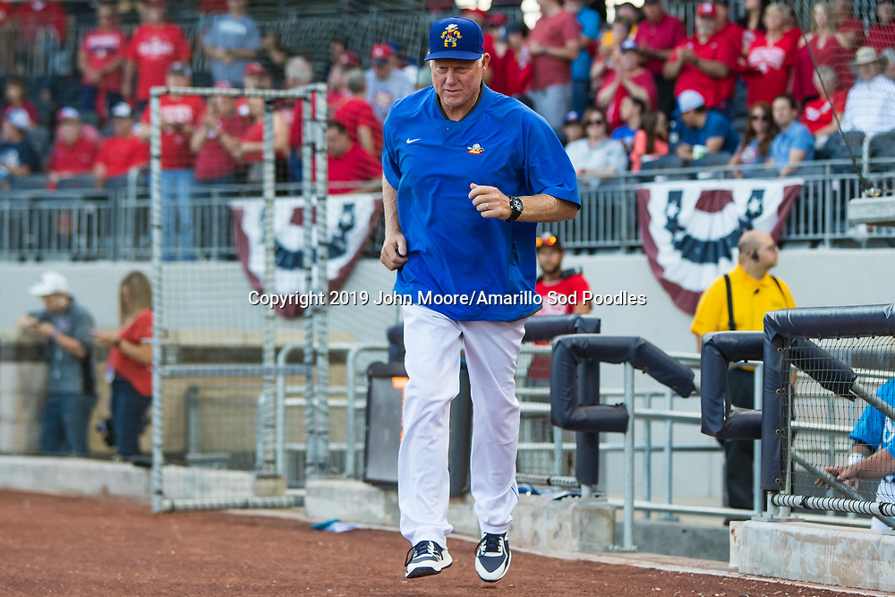 Amarillo Sod Poodles pitching coach Jimmy Jones against the Tulsa Drillers during the Texas League Championship on Tuesday, Sept. 10, 2019, at HODGETOWN in Amarillo, Texas. [Photo by John Moore/Amarillo Sod Poodles]
