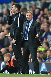 1st October 2017 - Premier League - Everton v Burnley - Everton manager Ronald Koeman argues with Fourth Official Christopher Kavanagh - Photo: Simon Stacpoole / Offside.