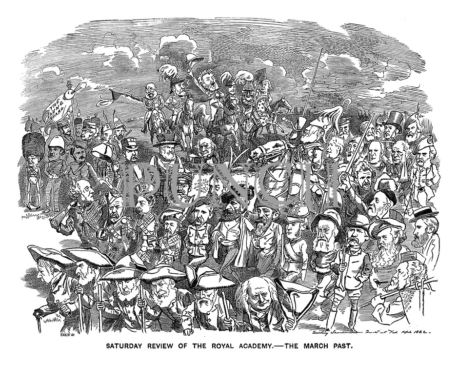 Saturday Review of the Royal Academy. The March Past. (Victorian cartoon showing leading artists in an honorary march past)