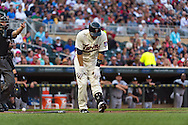 Brian Dozier #2 of the Minnesota Twins reacts after getting hit by a pitch against the Chicago White Sox on June 19, 2013 at Target Field in Minneapolis, Minnesota.  The Twins defeated the White Sox 7 to 4.  Photo: Ben Krause