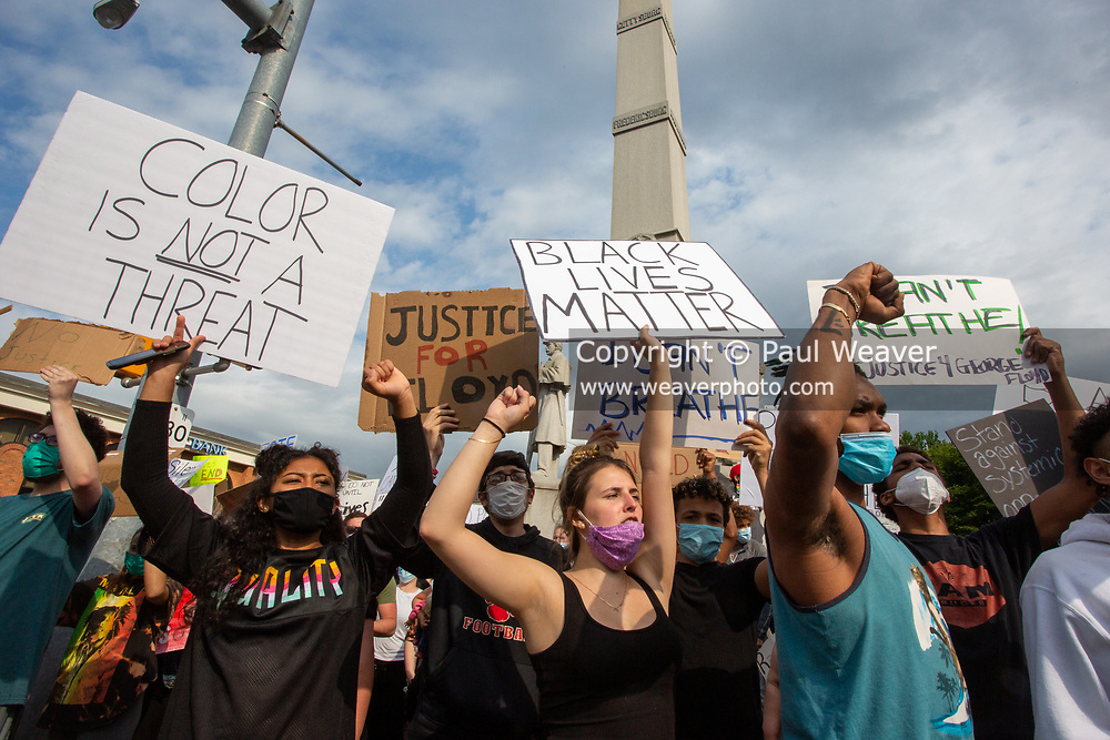Bloomsburg, PA (June 2, 2020) -- Several hundred people gathered at Market Square in Bloomsburg to protest police violence and racism.