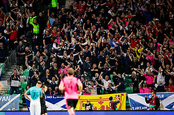 Supporters of Scotland celebrating after scoring first goal during football match between National Teams of Slovenia and Scotland of Fifa 2018 World Cup European qualifiers, on October 8, 2017 in SRC Stozice, Ljubljana, Slovenia. Photo by Vid Ponikvar / Sportida