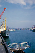 Ships in harbour at port of St Helier, Jersey, Channel Islands in 1964