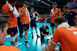 21-09-2019 NED: EC Volleyball 2019 Netherlands - Germany, Apeldoorn<br /> 1/8 final EC Volleyball / Time out Netherlands Coach Roberto Piazza of Netherlands