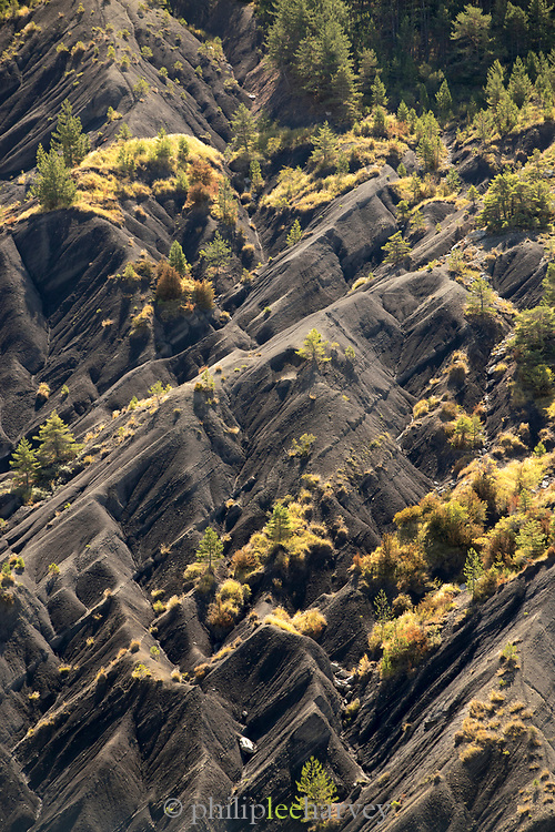 High angle view on triangular sharp rock tops with scattered trees, Verdon, Natural Regional Park, France