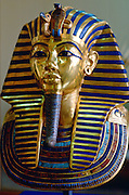 The mask of King Tutankhamun displayed  in the Cairo Museum, Egypt