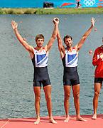 Eton Dorney, Windsor, Great Britain,..2012 London Olympic Regatta, Dorney Lake. Eton Rowing Centre, Berkshire.  Dorney Lake.  .GBR LM 2X Silver Medalist Mark HUNTER and left,  Zac PURCHASE..12:55:24  Saturday  04/08/2012 [Mandatory Credit: Peter Spurrier/Intersport Images]