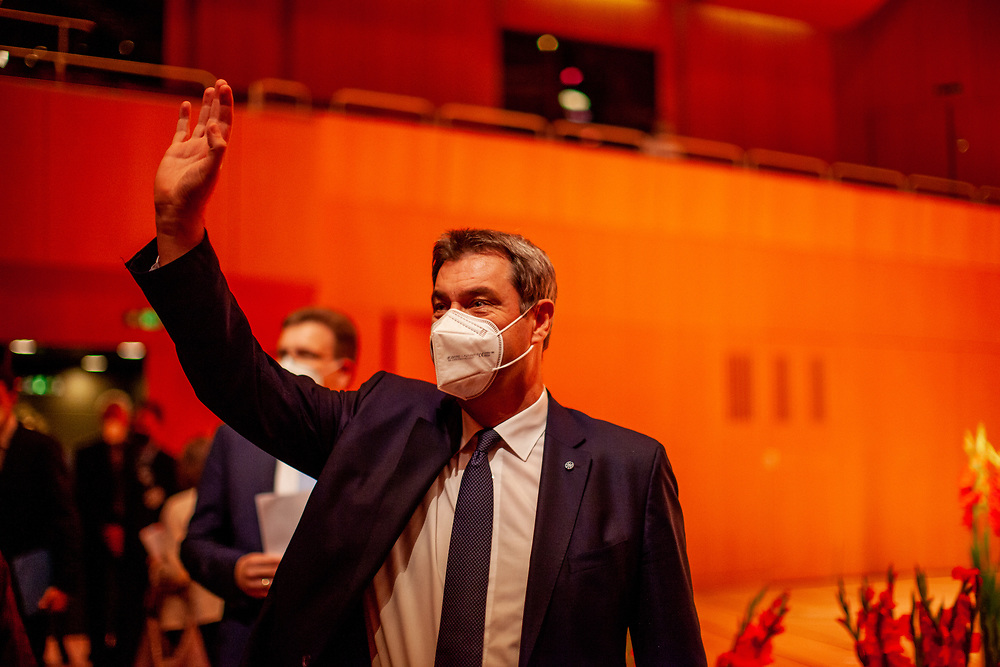 """Bavarian State Premier Markus Söder arriving at the ceremony including the awarding of the European Charles Prize  during the 71st Sudeten German meeting at the """"Philharmonie im Gasteig"""" in Munich."""
