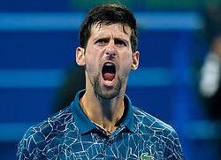 Novak Djokovic of Serbia celebrates his win over Nikoloz Basilashvili of Georgia during their Quarter - Final of ATP Qatar Open Tennis match at the Khalifa International Tennis Complex in Doha, capital of Qatar, on January 03, 2019. Novak Djokovic won 2-1  (Credit Image: © Nikku/Xinhua via ZUMA Wire)