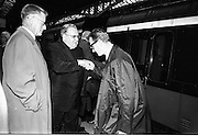 17/07/1967<br /> 07/17/1967<br /> 17 July 1967<br /> Cardinal John Cody, Archbishop of Boston arrives at Heuston Station, Dublin. Image shows Mr. Chris J. Walsh, Midwest manager, Irish Tourist Board greeting Cardinal Cody.