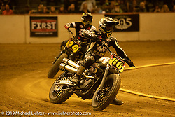Brothers Shaun Guardado (66) and Aaron Guardado (46) in the Hooligan Class at the Born-Free 10 Stampede flat track races in the City of Industry where classes ranged from Pull Start minis, Tank Shift, Vintage Singles & Open Twins, XR 75, ladies, Hooligans and more. Thursday night before the big chopper show June 21, 2018. Photography ©2018 Michael Lichter.