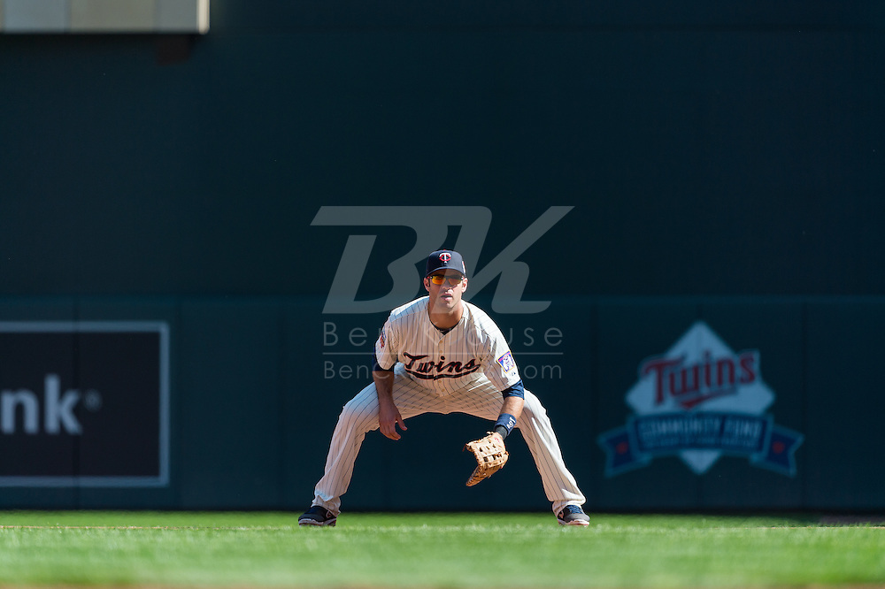 Joe Mauer #7 of the Minnesota Twins waits for a pitch while playing 1st base during a game against the Oakland Athletics on April 9, 2014 at Target Field in Minneapolis, Minnesota.  The Athletics defeated the Twins 7 to 4.  Photo by Ben Krause