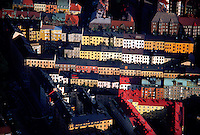Aerial view of rows of colorful apartment buildings, Stockholm, Sweden