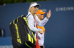 August 15, 2018 - Caroline Wozniacki of Denmark is forced to retire from her second-round match at the 2018 Western & Southern Open WTA Premier 5 tennis tournament. Cincinnati, Ohio, USA. August 15th 2018. (Credit Image: © AFP7 via ZUMA Wire)