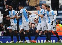 GOAL CELEBRATION - Blackburn Rovers' Joshua King (second left) celebrates scoring his sides equalising goal to make the score 1-1<br /> <br /> Photographer Kevin Barnes/CameraSport<br /> <br /> Football - The FA Cup Fifth Round - Blackburn Rovers v Stoke City - Saturday 14th February 2015 -  Ewood Park - Blackburn<br /> <br /> © CameraSport - 43 Linden Ave. Countesthorpe. Leicester. England. LE8 5PG - Tel: +44 (0) 116 277 4147 - admin@camerasport.com - www.camerasport.com