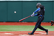 21 February 2015: Duke's Evan Dougherty hits a double. The Duke University Blue Devils hosted the University of Hartford Hawks in an NCAA Division I Men's baseball game at Jack Coombs Field in Durham, North Carolina. Duke won the game 5-1.