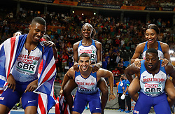 Great Britian's mens and womens relay teams celebrate during day six of the 2018 European Athletics Championships at the Olympic Stadium, Berlin. PRESS ASSOCIATION Photo. Picture date: Sunday August 12, 2018. See PA story ATHLETICS European. Photo credit should read: Martin Rickett/PA Wire. RESTRICTIONS: Editorial use only, no commercial use without prior permission