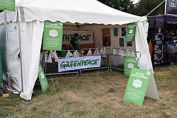 Latitude Festival 2017, Henham Park, Suffolk, UK. Greenpeace stall encouraging people to return their plastic bottles