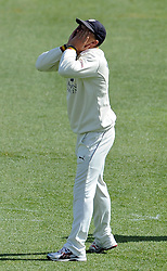 Dejection for Durham's Scott Borthwick - Photo mandatory by-line: Harry Trump/JMP - Mobile: 07966 386802 - 12/04/15 - SPORT - CRICKET - LVCC County Championship - Day 1 - Somerset v Durham - The County Ground, Taunton, England.