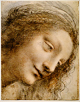 Etats-Unis, New York, The Metropolitan Museum of Art, Leonard de Vinci, Étude pour la Sainte Anne : le visage de la Vierge // United States, New York, The Metropolitan Museum of Art, Leonardo da Vinci, Study for Saint Anne: the face of the Virgin