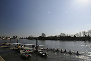 Chiswick. London. General View. GV's crews boating and views around The Hammersmith bend area   2011 Women's Head of the River Race, Mortlake to Putney, over the  Championship Course.Taken from Chiswick Bridge.  Saturday  19/03/2011 [Mandatory Credit, Peter Spurrier/Intersport-images]