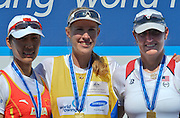 Sydney, Australia.   Women's Single scull Medals, left Silver Medalist, CHN W1X, centre Gold Medalist, AUS W1X, Kim CROW and Bronze Medalist ,USA W1X, Eleanor LOGAN.  FISA World Cup I. and  Sydney International Rowing Regatta. Sydney International Rowing Centre, Penrith Lakes, NSW. Sunday  24/03/2013  [Mandatory Credit. Peter Spurrier/Intersport Images]..