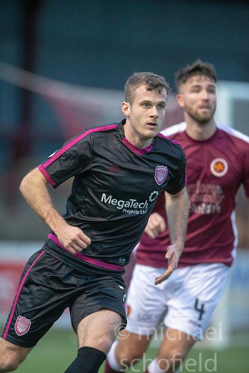 Arbroath's Danny Denholm. Stenhousemuir 1 v 4 Arbroath, Scottish Football League Division One play12/1/2019 at Ochilview Park.