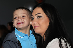 Terminally ill football mascot Bradley Lowery celebrates his sixth birthday with his mother Gemma at Blackhall Cricket Club near Durham.
