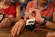 """BENXI, CHINA - JUNE 26: (CHINA OUT) <br /> <br /> Blood Bag Drink<br /> <br /> People drink  """"Blood Bag"""", a crimson beverage offered with two flavors of blueberry and cranberry on June 26, 2014 in Benxi, Liaoning province of China. """"Blood Bag"""", a crimson beverage was marked by the sign of """"Blood Type Energy Supply"""" as well as the symbol of Red Cross and the beverage was for sale with the price of 30 RMB (about 4.8 USD) in China's northeast city of Benxi. <br /> ©Exclusivepix"""