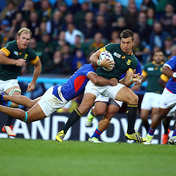 BIRMINGHAM, ENGLAND - SEPTEMBER 26: Handre Pollard of South Africa during the Rugby World Cup 2015 Pool B match between South Africa and Samoa at Villa Park on September 26, 2015 in Birmingham, England. (Photo by Steve Haag/Gallo Images)